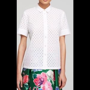 Kate Spade white eyelet short sleeve blouse